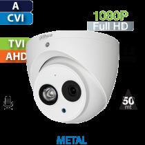 Cámara Domo IR HD-CVI 1080p IR 50 Mts CON AUDIO Dahua (HDW1230EM-A)