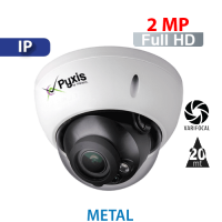 Cámara Domo IR IP 2 MP / 1080p Varifocal Antivandalica Pyxis (PX-DGIP2MVF)