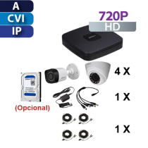CCTV Kit HD Auto-Installable 4 Cameras, 4ch Recorder, Cables, Connectors and Power Supply
