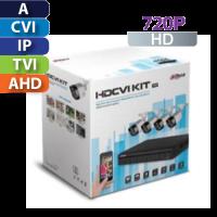 KIt de CCTV 4 CH  720P Lite / 4 Cámaras Bala / Cable / Fuente Dahua (KIT4104X)