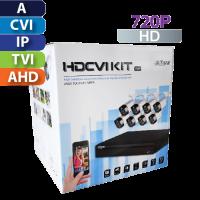 KIt de CCTV 8 CH  720P Lite / 8 Cámaras Bala / Cable / Fuente Dahua (KIT4108X)